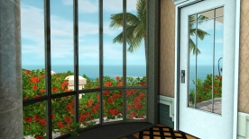 View from the breakfast area, door to the patio and private beach